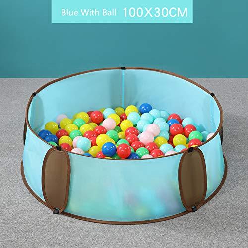 Faltbares Zaun- / Wasserballbecken für Kinder, Sandbecken + Kombinationsspielzeug + 5 kg gewaschener Stein für den Innen- und Außenbereich,Blau,5 -