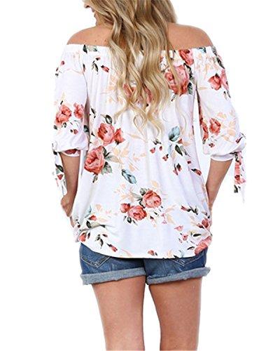 Auxo Damen Kurzarm Schulterfrei Print Sommer Strand Party Club T-Shirt Bluse Tops Blumen
