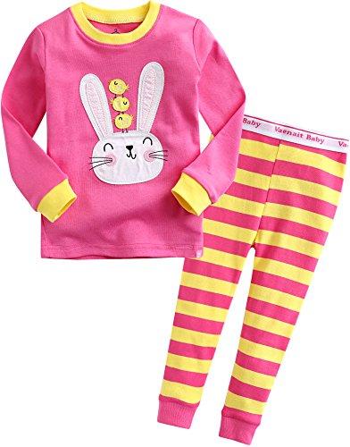 Kinder Maedchen Schlafanzug Cotton Sleepwear Pajama 2pcs Set Swing Cheek XS