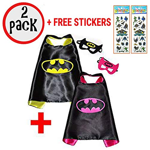 SquishyBean 2Sets Kinder Cape und Masken/und Batman/Batgirl Kostüme Super Hero Kleid bis Batman & Bat Girl Kostüme/Avengers und Batman/Batgirl Fancy Kleid