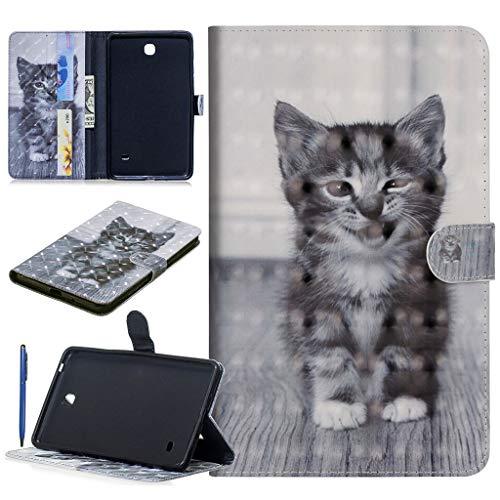 Careynoce Samsung Galaxy Tab 4 7.0 Hülle, Panda Welpen Tiger Schmetterling 3D Effekt PU Leder Abdeckung Stand Flip Schutzhülle Hülle für Samsung Galaxy Tab 4 7.0