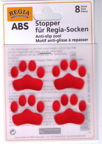 ABS Stopper zum Aufbügeln Socken Anti-Rutsch Farbe 02-rot