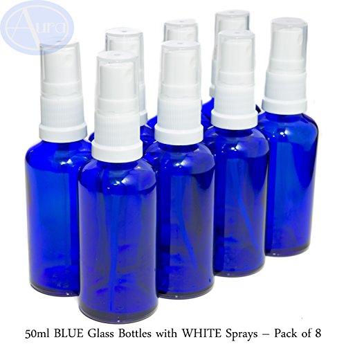8er-PACKUNG - 50ml BLAUGLAS-Flaschen mit Weiß Sprüh-ZERSTÄUBERN. Ätherisches Öl / Verwendung in Aromatherapie
