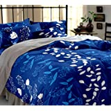 Home Ecstasy 100% Cotton Printed Bedsheet Set 3016 (Blue,Double)