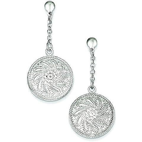In argento Sterling placcato al rodio, con diamante taglio a Post-Orecchini pendenti a forma di dischi, JewelryWeb