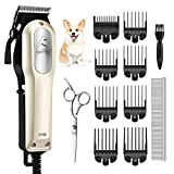 OMORC Dog Clipper, Low Noise Dog Grooming Clipper with 8 Comb Guides, Hair