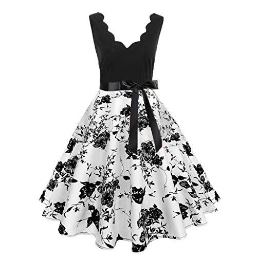 Vectry 50er Jahre Kleid 50er Kleid 50er Kleid mädchen Kleid 50er Jahre 50er Kleid Langarm 50er Rockabilly Kleid Vintage 50er Jahre Rockabilly Kleid 50er Kleid Weihnachten Kleid 50er (Weiße Kleider Für Halloween)