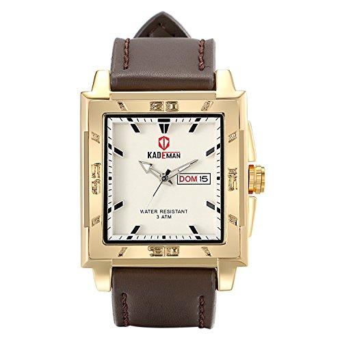 Leder Armbanduhr Herren Damen , Groß weiss Dial Militär Quarz Analog Kalender mit Datum Woche Wasserdicht Sport Uhren , dunkelbraun ()