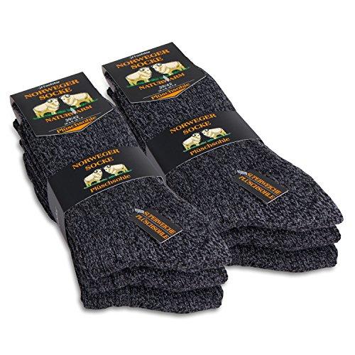 Footstar 6 Paar Herren Norweger-Socken - grau-melange - 43-46