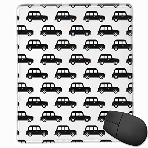 London Black Cab Taxi Boys Car Black and White Retro Mouse Pad Custom Design Gaming Mouse Mat Computer Mouse Pads with Non-Slip Neoprene Backing 9.8 X 11.8 inch (25 X 30 cm) -
