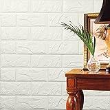 hunpta PE Mousse Papier peint en 3D Bricolage Stickers muraux Décor mural en relief Brique en pierre (blanc)...