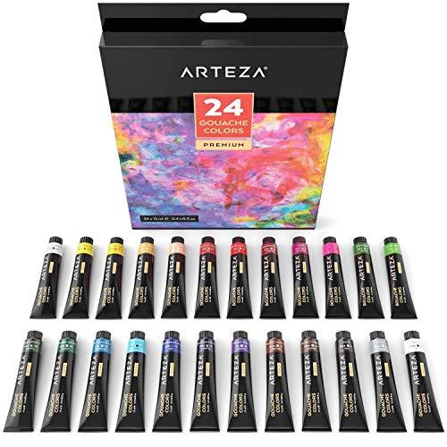 Acrylfarben-Set mit 24 Tuben à 12 ml, Wasserfeste Farben für Malerei auf Papier, Leinwand, Holz, Keramik und Stoff, Hochwertige Ölfarben von Sure Colour zum kreativen Malen für Künstler und Kinder -