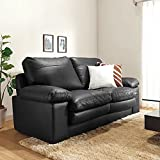 Furny Nathan Two Seater Leatherette Sofa (Black)