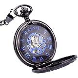 Mudder Blue Hands Scale Skeleton Mechanical Pocket Watch for Men