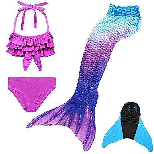 Dnfun code a sirena da bambina con monopinna, costumi da bagno, set bikini a 3 pezzi con alette, code elastiche per costumi da bagno da nuoto