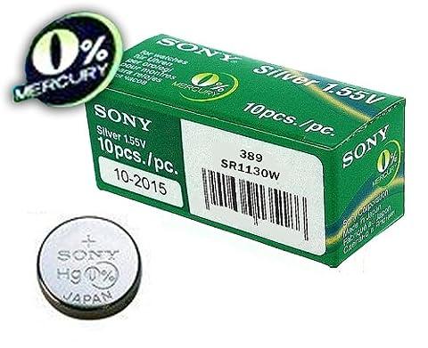 1 x Sony 389 SR1130W Silver Oxide 0% Mercury Watch Battery