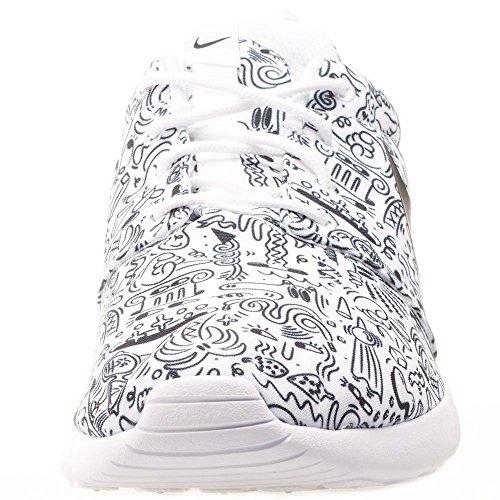 Nike Wmns Roshe One Print Prem, Chaussures de Sport Femme Blanc Cassé - Blanco (White / Black)