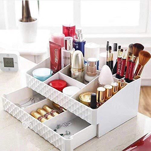 Diseño de espacio en caja de almacenamiento con múltiples funciones para mostrar una experiencia más innovadora.Tus cosméticos, productos para el cuidado facial, herramientas de maquillaje, esmaltes, joyas, relojes y más accesorios, puedes poner todo...