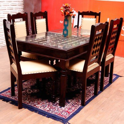 INDUSCRAFT BRASS FITTED DINING TABLE SET  available at amazon for Rs.52799