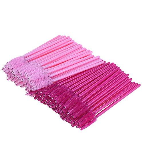 eBoot Einweg Eyelash Brush Wimpernbürsten, 100 Stück, Rose und Rosa