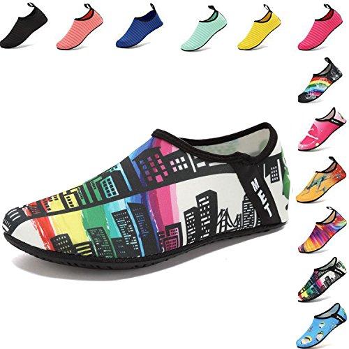 VIFUUR Water Sports Shoes Barefoot Quick-dry Aqua Yoga Socks Slip-on for Men Women Kids Skyscrapers-38/39