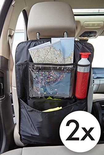 TECAROO 2er-Set Rücksitz Organizer, Rücksitztasche in schwarz | 2 Jahre Zufriedenheitsgarantie | Auto Rücksitzschoner, Rücksitz-Organizer, Rückenlehnenschutz, Autositzschoner, Auto-Organizer, Auto Organizer, Sitztasche, Sitzlehnentasche, Auto-Sitztasche