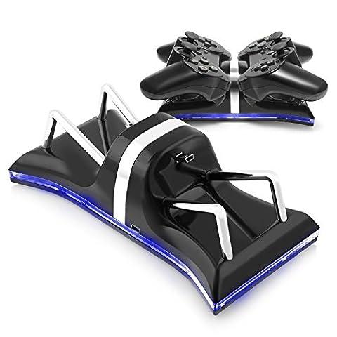ECHTPower Dualshock 3 Ladestation Standfuß Ladegerät mit LED Indikator für Sony Playstation PS3 / PS 3 Slim Gamepad Controller