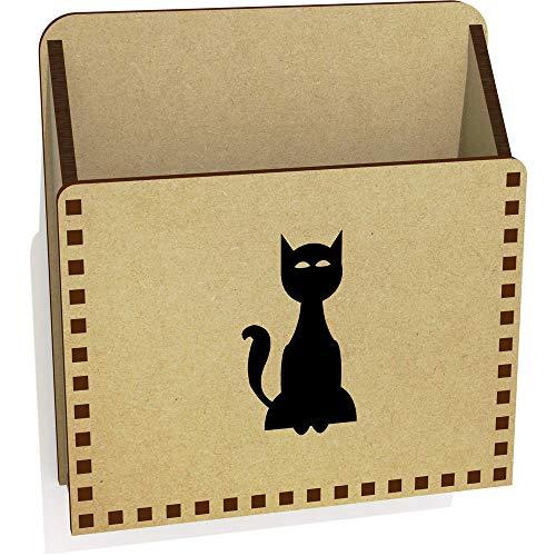 Azeeda 'Schwarze Katze' Hölzern Brief Halter / Box (LH00036798)