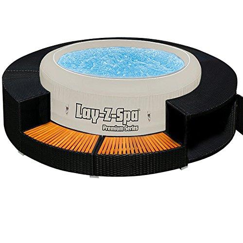 XXL Whirlpool Umrandung Polyrattan Pool Rahmen Verkleidung Poolumrandung