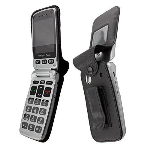 caseroxx Handy-Tasche Ledertasche mit Gürtelclip für Doro Primo 413 aus Echtleder, Handyhülle für Gürtel (mit Sichtfenster aus schmutzabweisender Klarsichtfolie in schwarz)