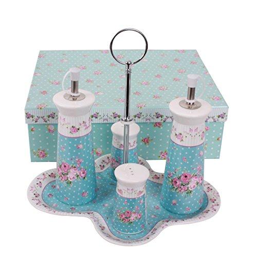 Öl Essig Set und Rack Ständer Fine China Porzellan Vintage Retro Rose, porzellan, blau ()