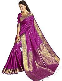 Craftsvilla Women's Bangalore Silk Embossed Traditional Purple Saree With Blouse Piece