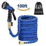 Lusanity blau, 30,5 m lang, ausdehnbarer Gartenschlauch mit massivem Messingventil verhindert undichte Stellen erweiterbarer (mit Ventil) Garten-Wasserschlauch mit Extra-starkem Stoff
