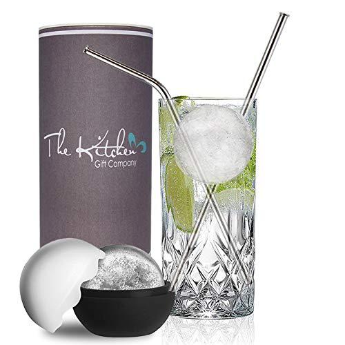 Crystal Highball Glasmixer-Set mit 5 cm großer Eiskugelform und Metallhalmen Perfekt für Gin & Tonic, Wodka & Coke & Cocktails Highball-gläser-set
