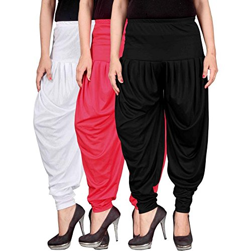 Fashion And Freedom Women\'s Lycra Dhoti Patiala Salwar Harem Pants FF_00WPB_1, WHITE, PINK, BLACK, FREESIZE , Combo Pack of 3