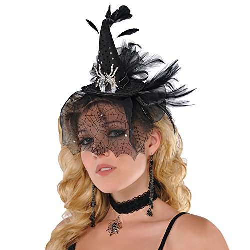 Amscan Black and Silver Sequin Spiderweb Witches Mini Fascinator Hat on Headband with Veil Adult and Teen - Crystal Spider Evil Traditional Pointy Deluxe Halloween Witch Gothic Fancy Dress Costume Accessory