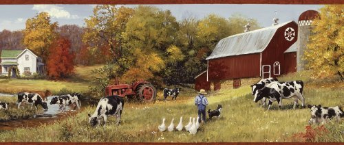 Wallpaper Border Cow Pasture Red Barns Farm Country Americana Tractor Farmer Dog by The Wallpaper and Border Store -