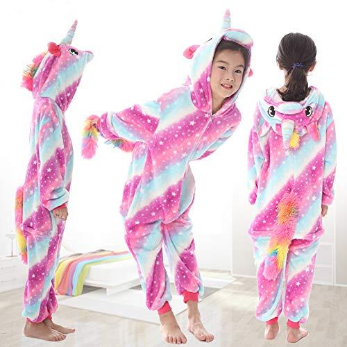 Kinder Jungen Mädchen Herren Einhorn Rosa Weiß Blau Regenbogen Star Fantasy Onesie Loungewear Kostüm Outfit Cosplay Rollenspiel (Pink & Blue wirbelt mit Sternen, Alter 12-14)