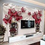 HONGYUANZHANG Benutzerdefinierte Fototapete 3D Europäischen Stil Schmuck Blume Wohnzimmer Schlafzimmer Tv Hintergrund Wandmalereien Tapete Für Wände,110cm (H) X 190cm (W)