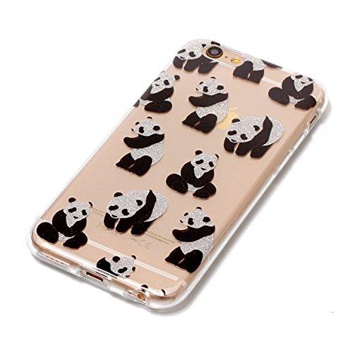 Cover iPhone 6S,RUIST Custodia Shock-Absorption Bumper e Anti-Scratch TPU Silicone Gel Gomma Ultra Sottile Polvere dargento Flash Protettiva Shell Case Cover per Apple iPhone 6 / 6S (4,7 Pollice) - D Piccolo panda