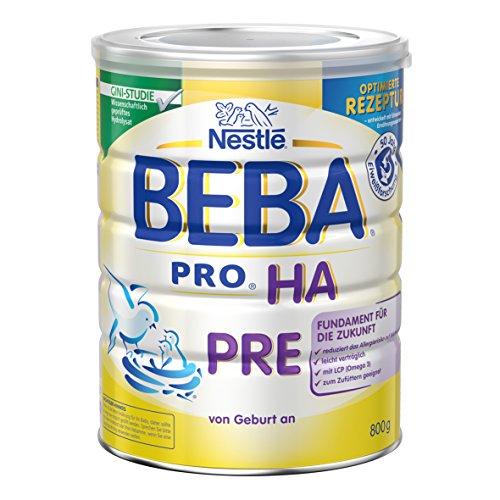 Preisvergleich Produktbild Nestlé Beba Pro HA Pre Hypoallergene Säuglings-Anfangsnahrung,  hydrolisierte und hypoallergene Baby-Nahrung,  von Geburt an,  1er Pack (1 x 800 g)