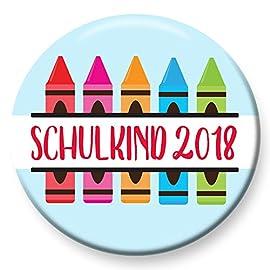 Polarkind-Button-Anstecker-Schulkind-2018-Buntstifte-Geschenk-zum-Schulanfang-38mm-handmade-Pin