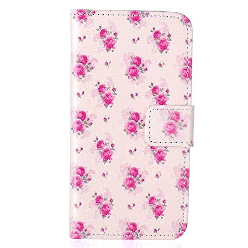 iPhone 5C Coque, Linvei Apple iPhone 5C Coque Housse Etui Étui en cuir Anti Scratch Back Cover Bumper Case for Apple iPhone 5C Rose Flower