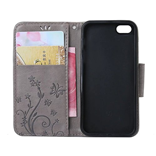 iPhone 5S Hülle Case,iPhone SE Hülle Case,Gift_Source [Card Slot] Luxury Magnetic Closure PU Leder Flower Butterfly Embossed Brieftasche Hülle Case Folio Flip Hülle Case Mit Strap für Apple iPhone SE/ E01-05-Gray