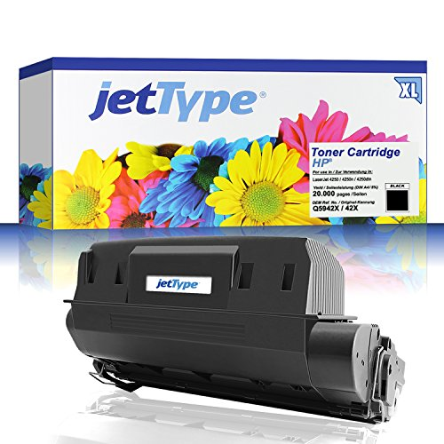 Preisvergleich Produktbild jetType Toner ersetzt HP Q5942X / 42X für LaserJet 4250 / 4250n / 4250dtn, schwarz, 20.000 Seiten