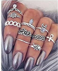 SROVFIDY Moda placcato oro del cuore del foglio misto Knuckle Nail Ring Set di Quattro Anelli (H)
