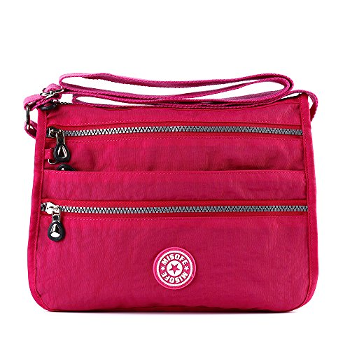 Borsa messenger da donna in nylon, stile casual con tracolla e tasche multiple, ideale in viaggio Rose