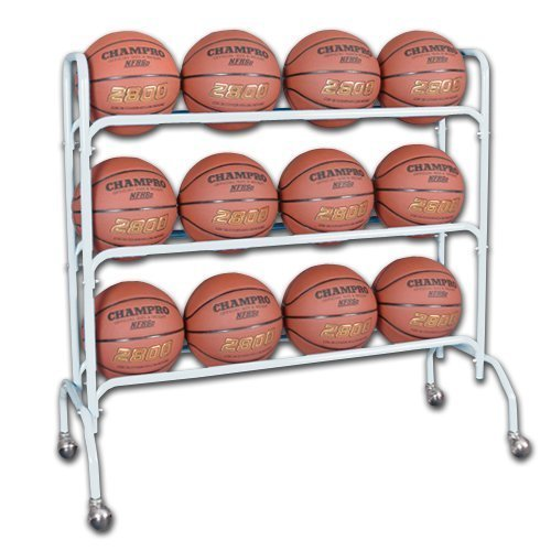 Champro 12 Ball Rack with Casters, Upright (Silver, 41 x 17 x 41) by Champro -