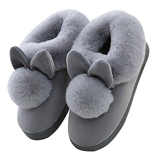 Chaudes Unisex Pantoufles Coton Épais Fond Hiver Lapin Slipper A Chaussons Cartoon Peluche Chaussons Femmes Hommes Antidérapant Minetom Gris Intérieure Spw05cpq