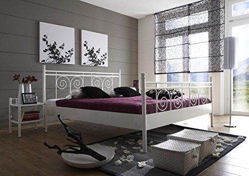 SAM® Metallbett 200x200 cm Rosario, Bettgestell weiß, filigrane Verzierungen, Blickfang für Gästezimmer Schlafzimmer (Eisenbetten Himmelbetten)